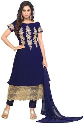 YOYO Fashion Designer Gerogette Embroidered Anarkali Semi-Sttiched Salwar suit