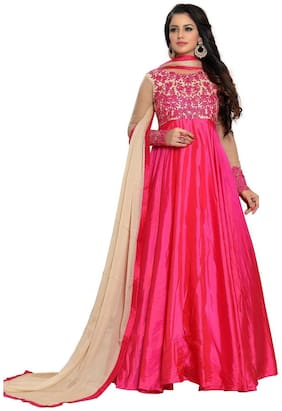 YOYO Fashion Designer Fancy Silk  Pink Anarkali Gown Salwar Suit