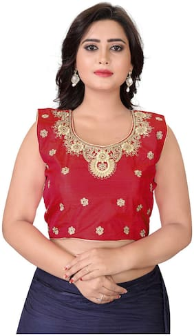 YOYO Fashion Red Fantom Solid Extra Sleeve With Blouse