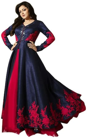 YOYO Fashion Designer Banglory Silk Embroidered Anarkali Semi Stitched Indowestern Suit