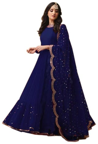 YOYO Fashion Blue Gorgette Embroidered Dress Bottom With Dupatta Material