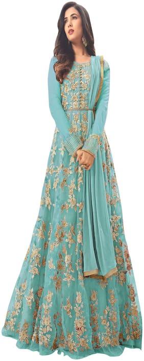 YOYO Fashion Net Regular Floral Gown - Blue