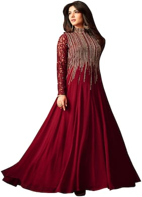 YOYO Fashion Georgette Comfort Floral Gown - Maroon