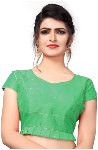 YOYO Fashion Malbari Green Extra Sleeve With Blouse