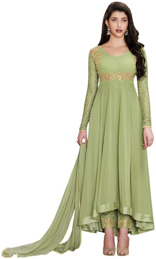 YOYO Fashion Faux Georgette Light Green Embroidered Anarkali Semi-Stitched Salwar Suits With Dupatta
