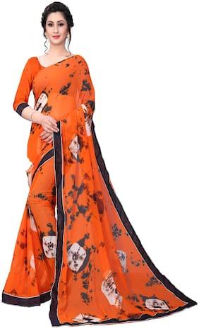 YOYO Fashion Georgette Universal Block print work Saree - Orange , With blouse