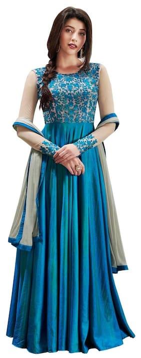 YOYO Fashion Silk Regular Printed Gown - Blue
