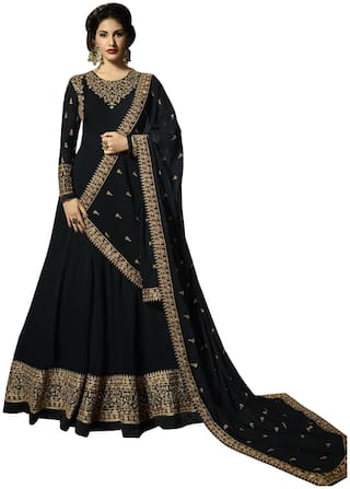 YOYO Fashion Georgette  Black Anarkali Salwar Suits With Dupatta