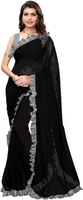 YOYO Fashion Georgette Black saree with Blouse