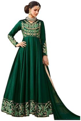 YOYO Fashion Silk Regular Printed Gown - Green