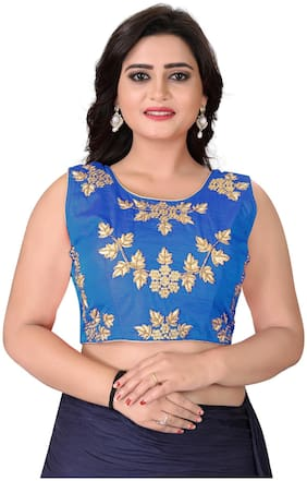 YOYO Fashion Blue Silk Embriodered Extra Sleeve With Blouse