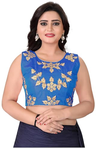 18fb51bb177b9 Buy YOYO Fashion Blue Silk Embriodered Extra Sleeve With Blouse ...