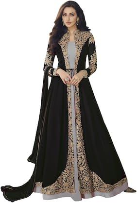 YOYO Fashion Black Georgette Embroidered Anarkali Suit