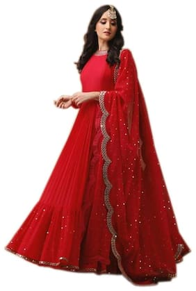 YOYO Fashion Red Gorgette Embroidered Dress Bottom With Dupatta Material