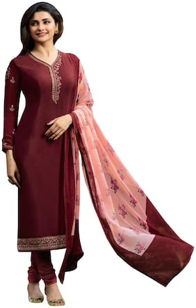 YOYO Fashion Maroon Royal Crepe Embroidered Straight Suit