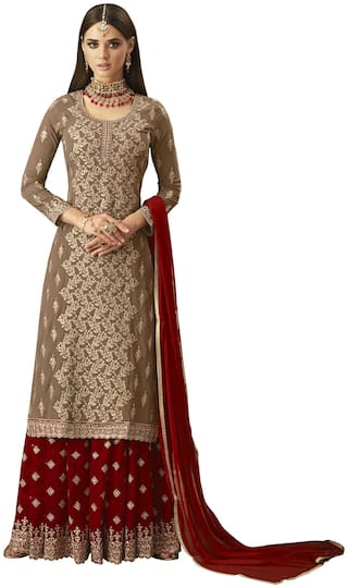YOYO Fashion Georgette Beige Embroidered Straight Semi-Stitched Salwar Suits With Dupatta