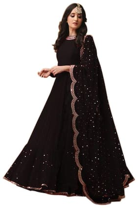 YOYO Fashion Black Gorgette Embroidered Dress Bottom With Dupatta Material