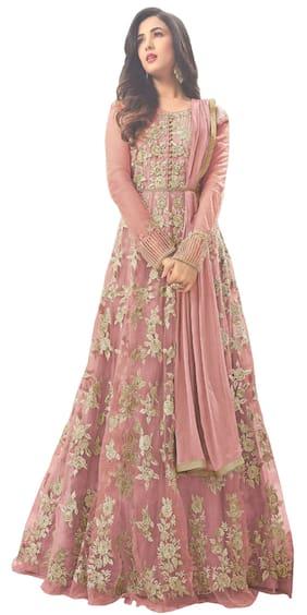 YOYO Fashion Net Regular Floral Gown - Peach