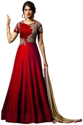 YOYO Fashion Silk Regular Printed Gown - Red