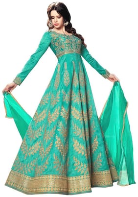 YOYO Fashion Silk Comfort Solid Gown - Green