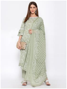 YURI'S Women Green Floral Straight Kurta With Trousers And Dupatta