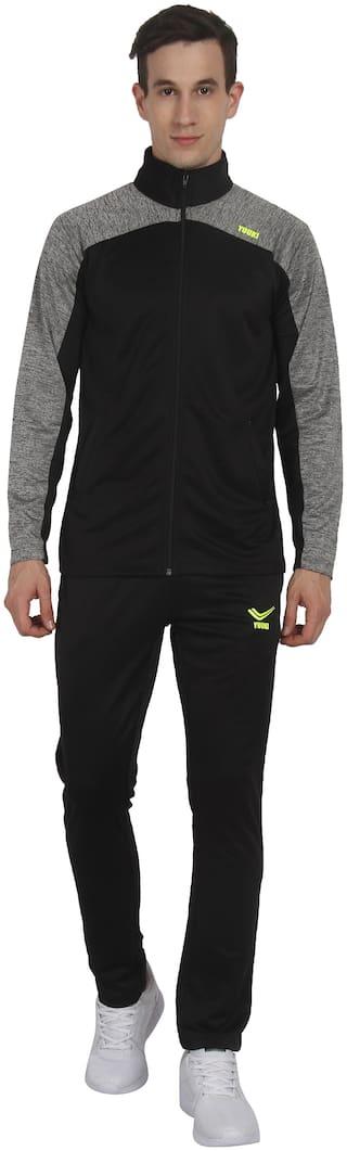 YUUKI Men Black Solid Regular Fit Track Suit