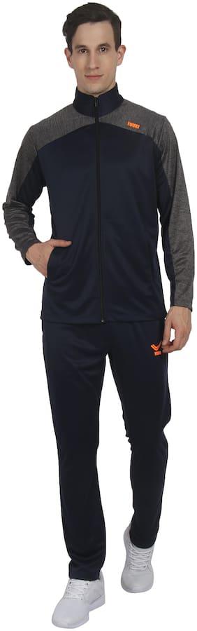 YUUKI Men Navy Blue Solid Regular Fit Track Suit