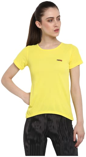 Yuuki Women Solid Sports T-Shirt - Yellow
