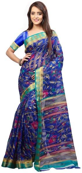 Yuvanika Blue Universal Regular Saree , Without blouse