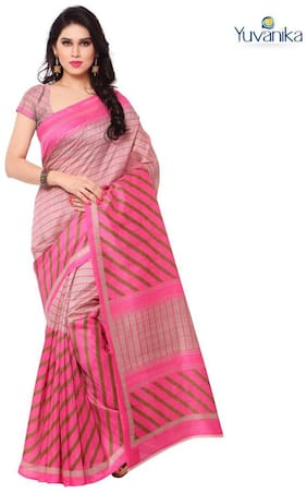 Yuvanika Pink Striped Universal Regular Saree , Without blouse