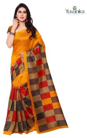 Yuvanika Bhagalpuri Checks Print Orange Color saree