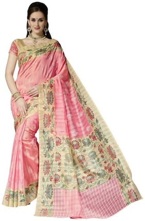 Yuvanika Brown Floral Universal Regular Saree With Blouse , With blouse