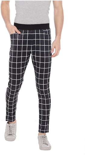 Yuvraah Polyester Blend Black Checkered Track Pants  For Men