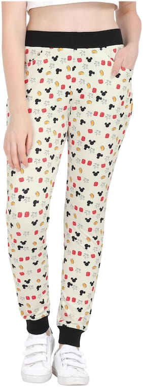 Yuvraah Polyester Beige Printed Joggers  For Women