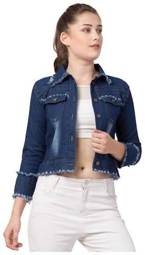 ZA ENTERPRISES Women Solid Denim Jacket - Blue