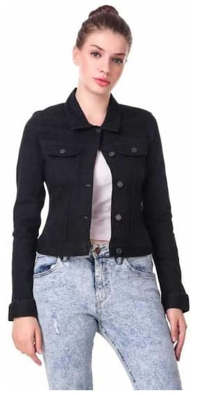 ZA ENTERPRISES Women Solid Denim Jacket - Black