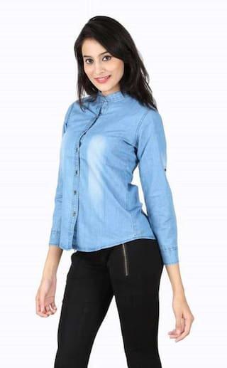 ZA Women ENTERPRSES Shirts Casual Denim x6r6gwqaY