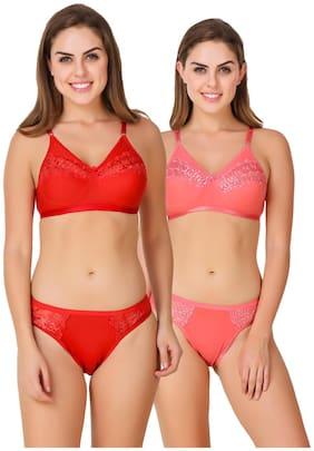 ZAAMBIA Lace Bikini brief Push-up bra Lingerie Set - Multi