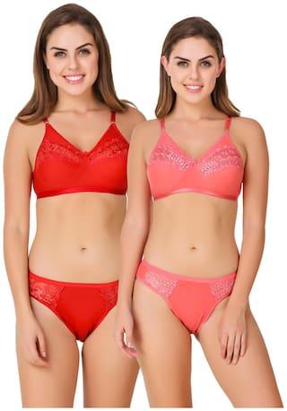 ZAAMBIA Lace Bikini brief Minimizer bra - 2 Lingerie Set