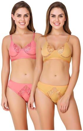ZAAMBIA Solid Bikini brief Push-up bra - 2 Lingerie Set