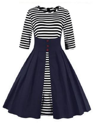 Zaful Fashion Vintage Striped Printing Dress #LL Store