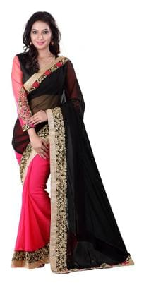 4a921ecec8 ZAINEE CLOTHING Georgette Dupion Embroidered work Saree - Black , With  blouse