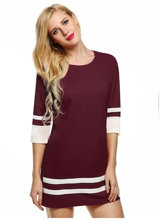 Zeagoo Women Fashion Casual Slim Dress Round Neck 3/4 Sleeve Patchwork Contrast Color Straight Party Dress