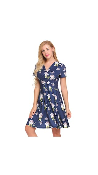Dress Ruched Midi Floral Women Neck Zeela Print Small Line Short Sleeve V A UPF04qw1