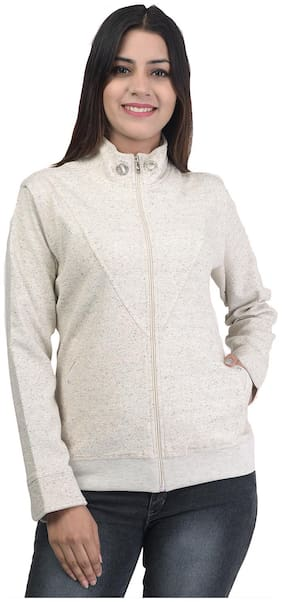 ZELICA Women Solid Sweatshirt - White