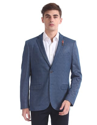 b0c8694aa38a Buy Arrow Men Polyester Slim fit Blazer - Blue Online at Low Prices ...
