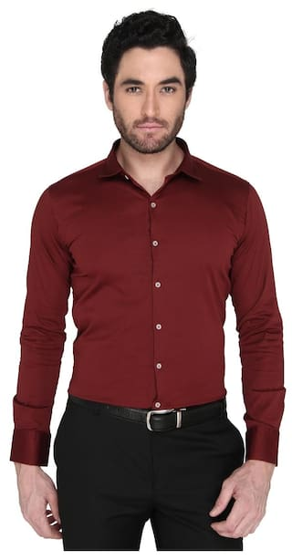 Zido Men Regular Fit Formal Shirt - Maroon