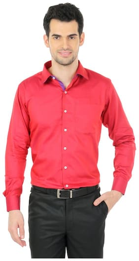 Zido Men Slim fit Formal Shirt - Red