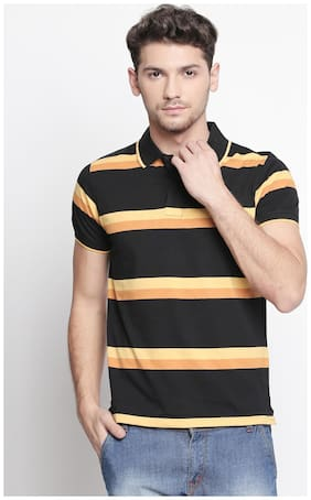 Zido Men Regular fit Polo neck Striped T-Shirt - Multi