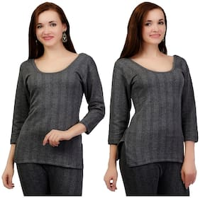 ZIMFIT Women Blended Thermal top - Grey